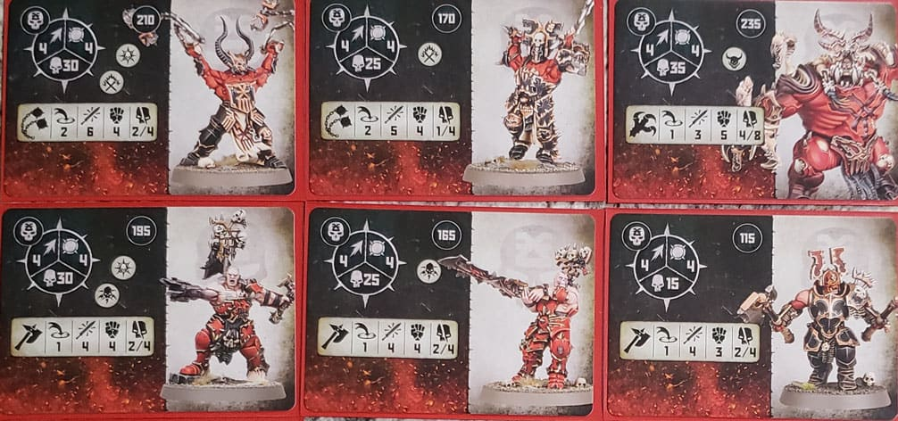 Fighter Cards for the Blades of Khorne: Bloodbound warband in warcry