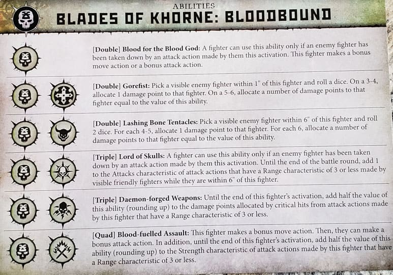 Ability Card for the Blades of Khorne: Bloodbound warband in warcry