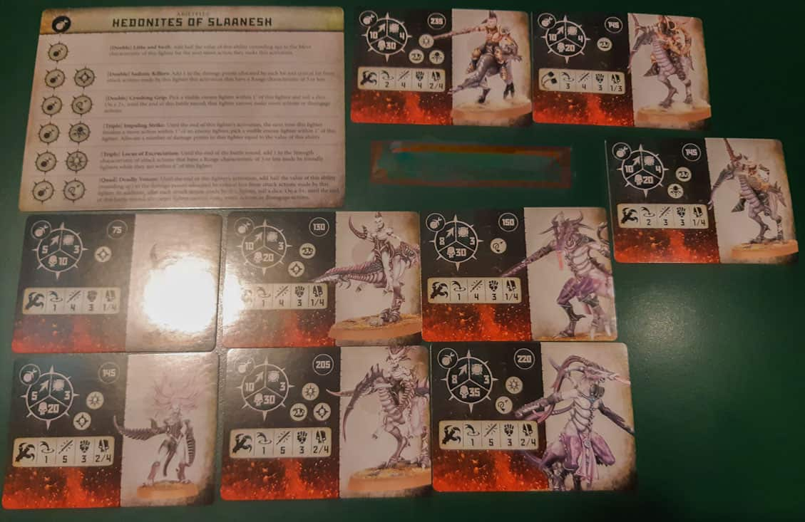 Hedonites of Slaanesh Ability and Fighter Cards for Warcry