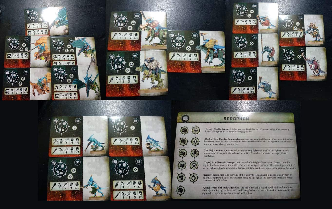 Fighter and Ability cards in the Seraphon warband in Warcry