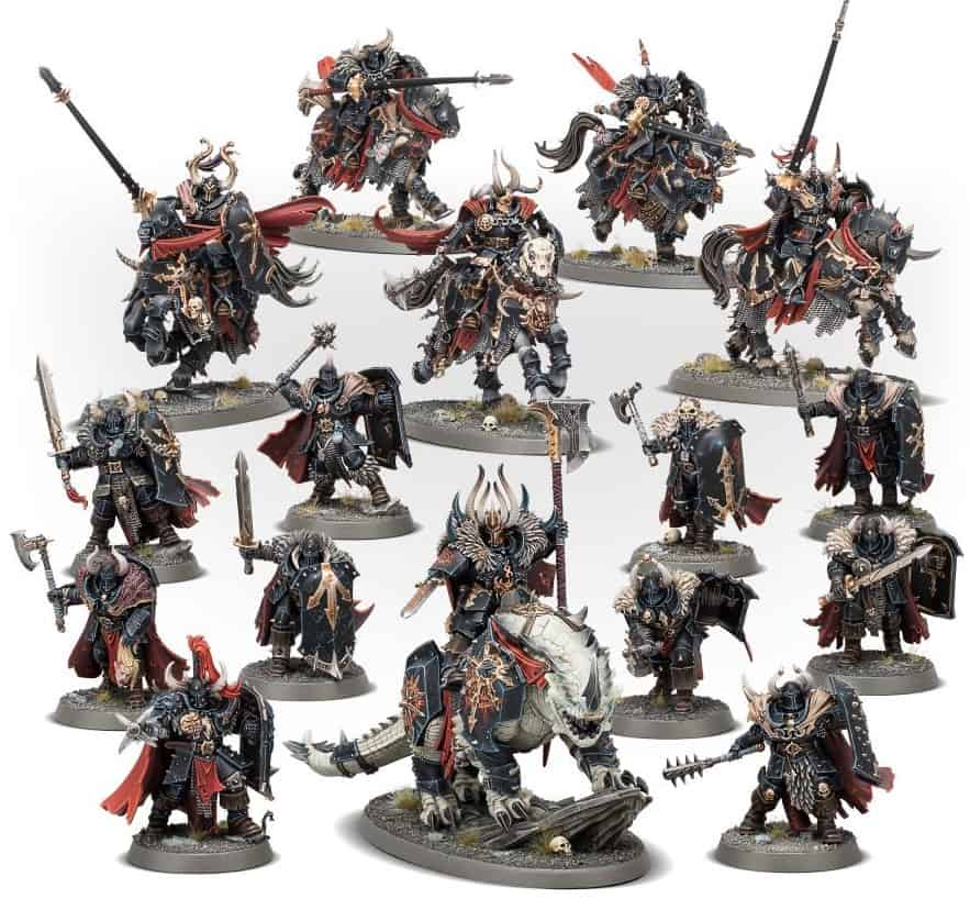 All of the miniatures in the new start collecting slaves to darkness box