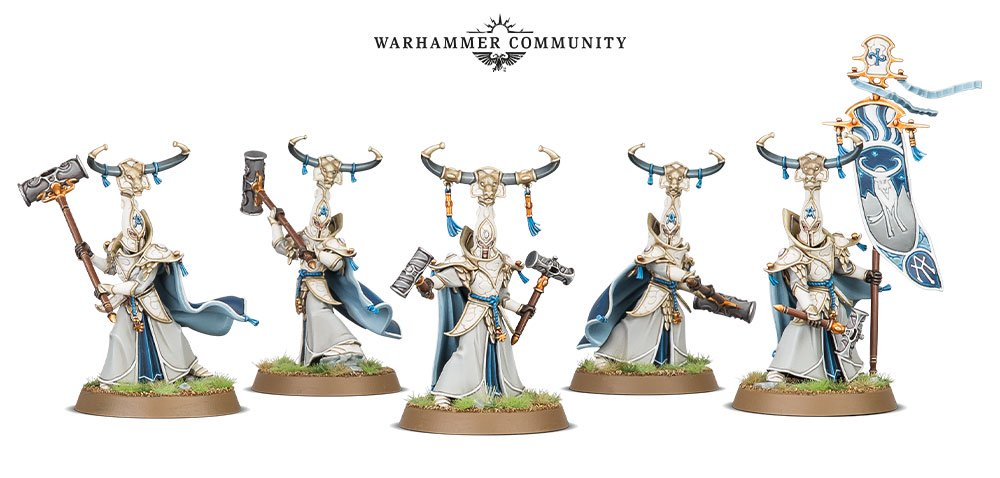 Alarith Stoneguard models for the Lumineth Realm-Lords faction