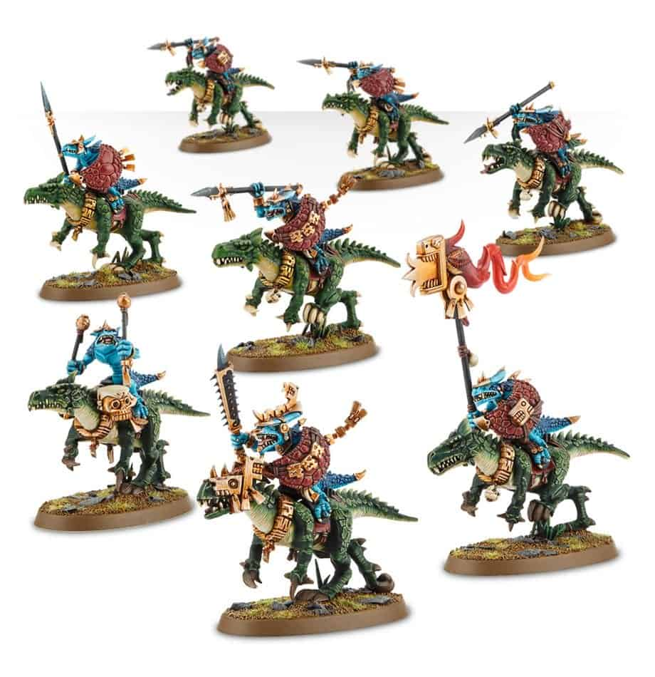 Saurus Knights ready to charge the opponents of your Seraphon Warband