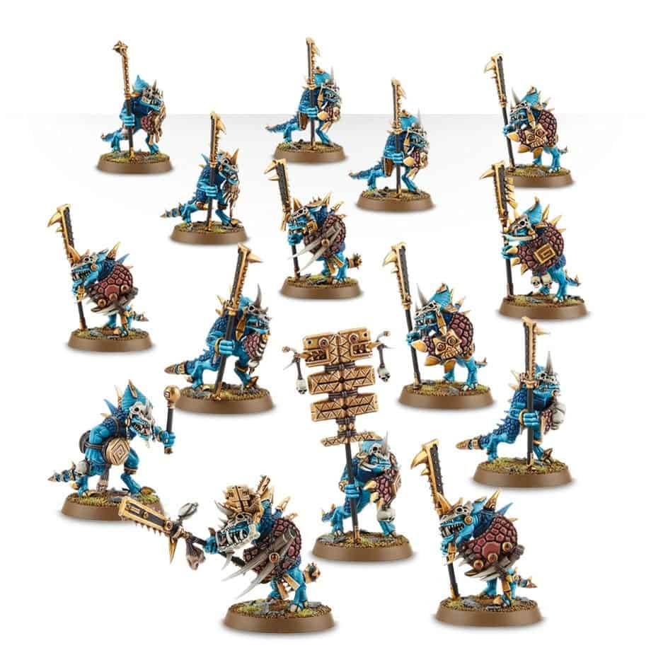 The elite Saurus Guard in the Seraphon warband in warcry