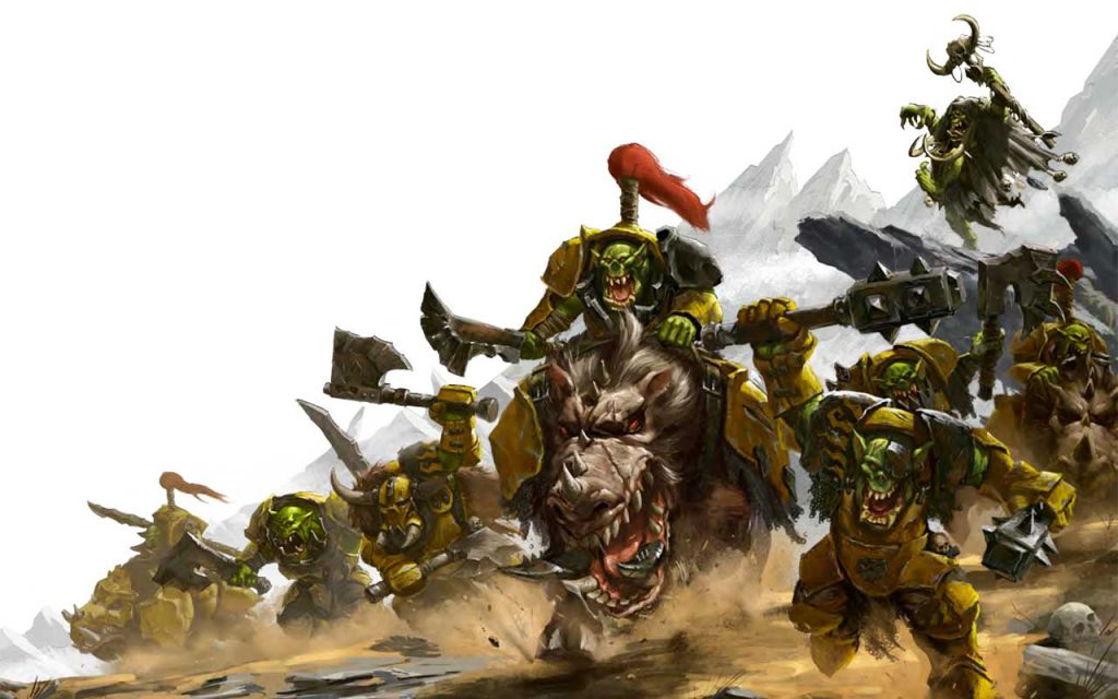 Artwork of Ironjawz attacking from the Soulbound RPG book