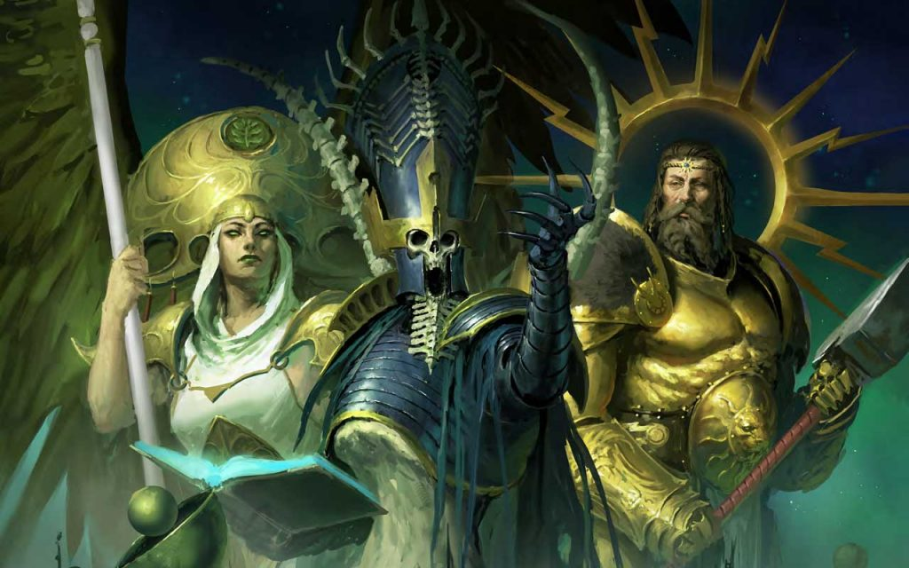 Artwork from the Soulbound RPG book depicting Alarielle, Sigmar and Nagash.