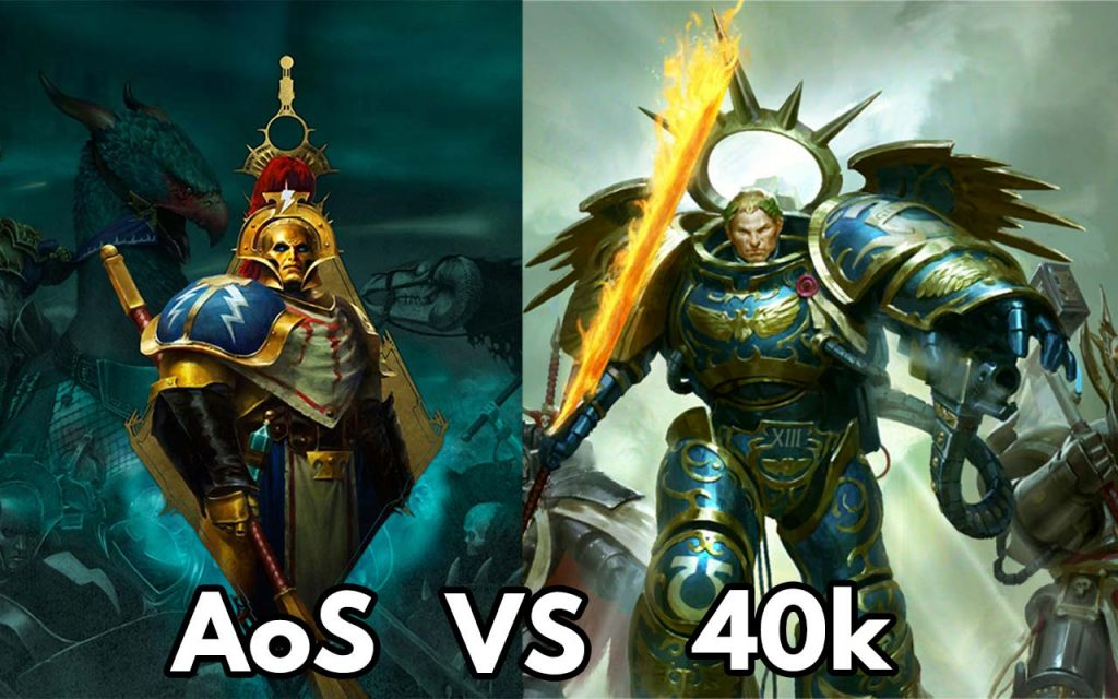 The feature image for the Comparing Warhammer 40.000 vs Age of Sigmar article
